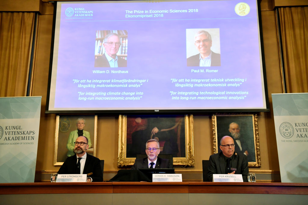 Per Stromberg Goran K. Hansson and Per Krusell announce the laureates of the Nobel Prize in Economics during a press conference at the The Royal Swedish Academy of Sciences in Stockholm Sweden. The prize was divided between William D. Nordhaus and Paul