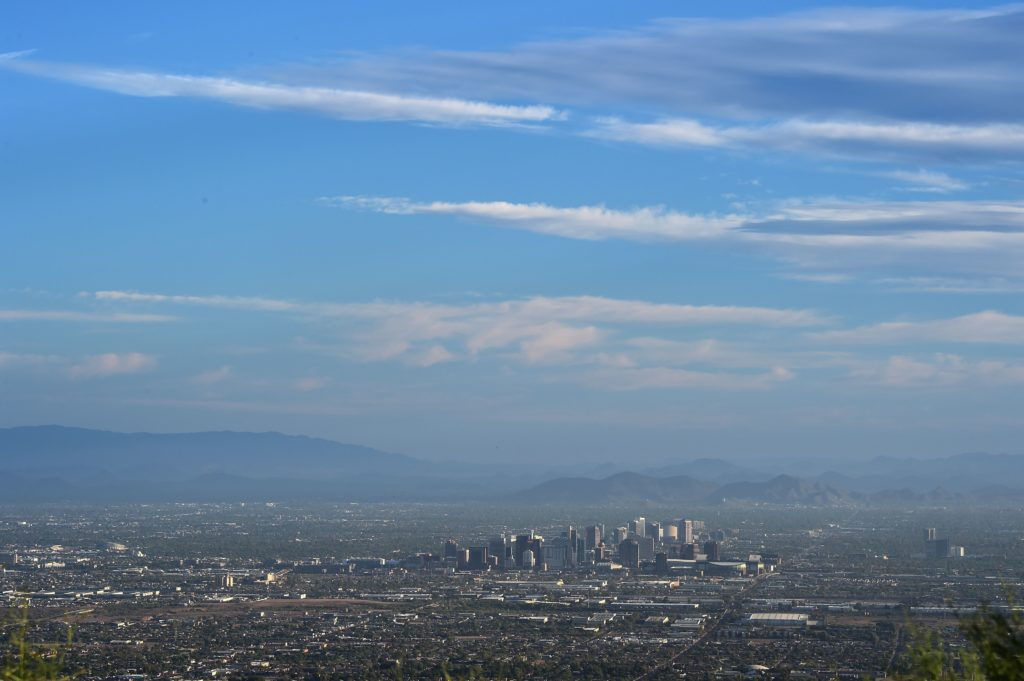 View of the downtown Phoenix, Arizona city skyline as seen from South Mountain Park, August 28, 2018. (Photo by Robyn Beck / AFP)        (Photo credit should read ROBYN BECK/AFP/Getty Images)