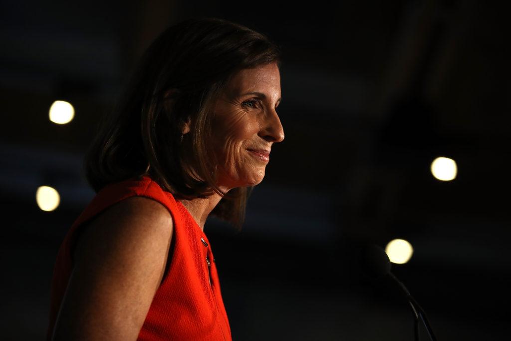 TEMPE, AZ - AUGUST 28: U.S. Senate candidate U.S. Rep. Martha McSally (R-AZ) speaks during her primary election night gath...