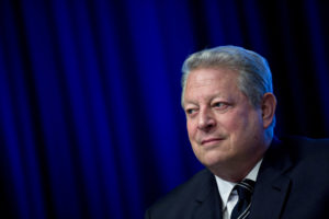 Former U.S. Vice President Al Gore, chairman and president of Generation Investment Management LLP, listens during a panel discussion at the spring meetings of the International Monetary Fund (IMF) and World Bank in Washington, D.C., U.S., on Friday, April 21, 2017. The emergence of protectionist forces could undermine a modest brightening of the global growth outlook and is putting severe strain on the post-World War II economic order, the IMF said this week. Photographer: Andrew Harrer/Bloomberg via Getty Images