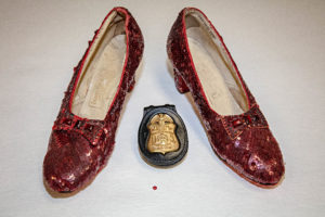 The FBI recovered a pair of stolen ruby slippers as part of a sting operation in 2017. Smithsonian conservation experts examined the shoes in July. Photo courtesy: Smithsonian Institution