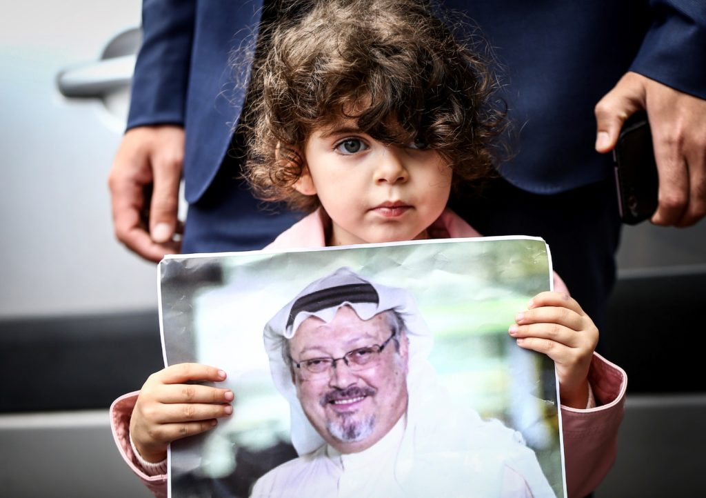 Representatives of NGOs stage a demonstration on the disappearance of Prominent Saudi journalist Jamal Khashoggi in front of the Consulate General of Saudi Arabia in Istanbul, Turkey on October 08, 2018. Photo by Ahmet Bolat/Anadolu Agency/Getty Images
