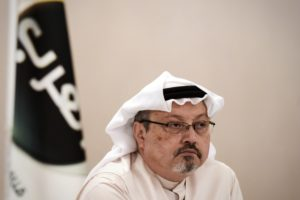 "A general manager of Alarab TV, Jamal Khashoggi, looks on during a press conference in the Bahraini capital Manama, on December 15, 2014. The pan-Arab satellite news broadcaster owned by billionaire Saudi businessman Alwaleed bin Talal will go on air February 1, promising to ""break the mould"" in a crowded field. Photo by MOHAMMED AL-SHAIKH (Photo credit should read MOHAMMED AL-SHAIKH/AFP/Getty Images)"