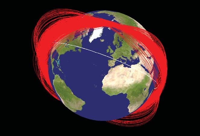When the Chinese government destroyed one of their own satellites in 2009, the impact created thousands of pieces of trackable debris. Red lines are debris; the white line is the orbit of the International Space Station. Image by NASA
