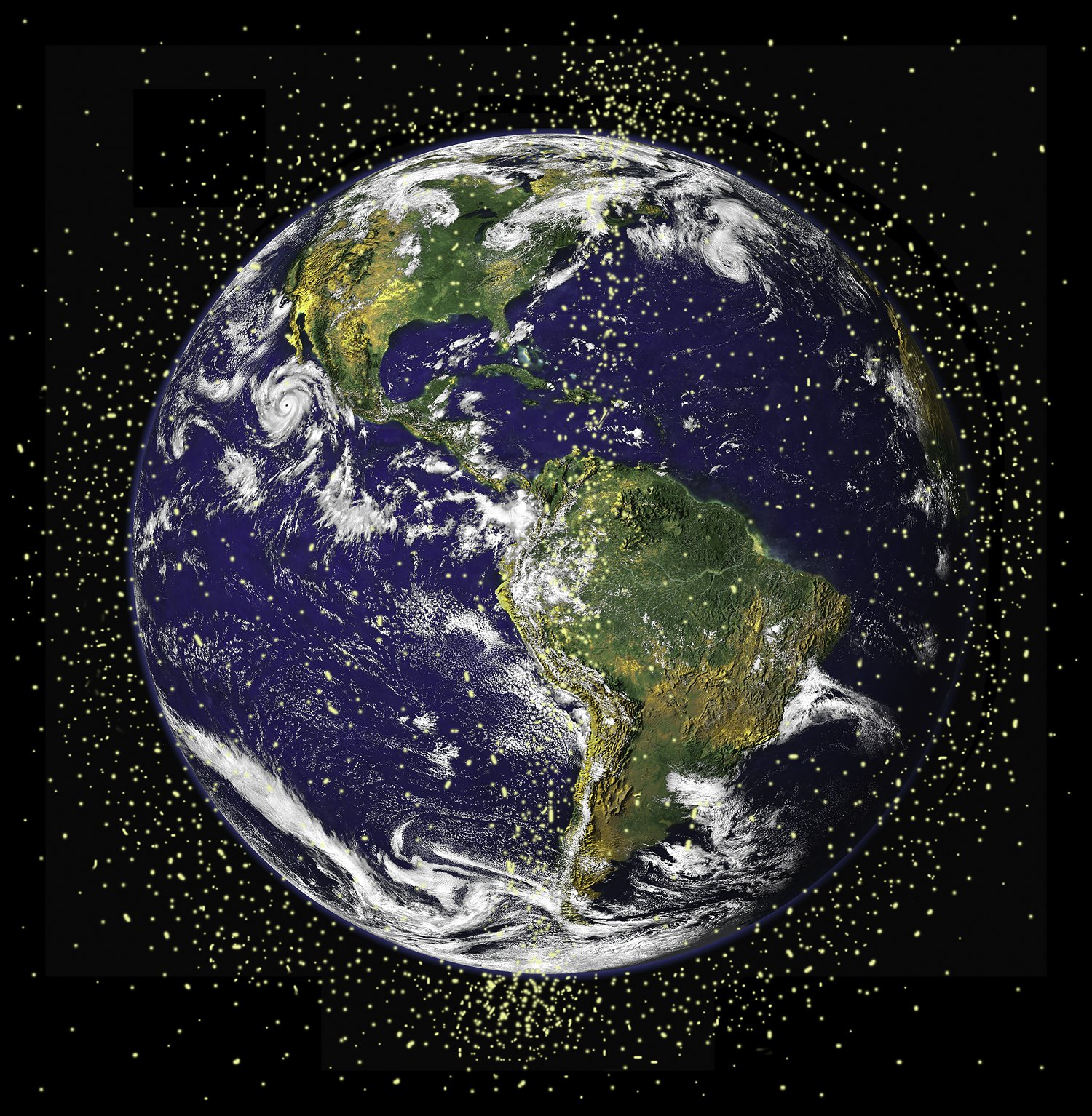 Hundreds of thousands of satellites and pieces of space debris circle the planet in low orbit, zipping by at more than 17,000 miles per hour. Size of yellow points are exaggerated for visibility. Image by NASA