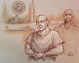 Cesar Altieri Sayoc, accused of mailing 14 pipe bombs to prominent critics of President Donald Trump, appears handcuffed in federal court to answer charges against him in an artist's sketch in Miami, Florida. Photo by Daniel Pontet/Reuters