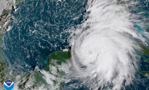 Tropical Storm Michael is seen in the Gulf of Mexico in this NOAA GOES-East satellite image taken Oct. 8, 2018. Photo courtesy NOAA GOES-East via Reuters