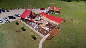 The Rustic Barn, an event hall, which suffered major tornado damage in 2017, is seen from an unmanned aerial vehicle in Canton, Texas. Photo by Brandon Wade/Reuters