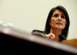 "U.S. Ambassador to the United Nations Nikki Haley testifies to the House Foreign Affairs Committee on ""Advancing U.S. Interests at the United Nations"" in Washington, D.C. Photo by Joshua Roberts/Reuters"