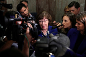 Senator Susan Collins (R-Maine), talks to reporters about the Supreme Court nomination of federal appeals court judge Brett Kavanaugh, on Capitol Hill in Washington, D.C. Photo by Mike Segar/Reuters