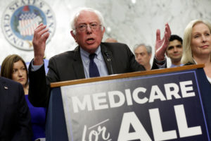 "Senator Bernie Sanders (I-Vermont) speaks during an event to introduce the ""Medicare for All Act of 2017"" on Capitol Hill in Washington, D.C. Photo by Yuri Gripas/Reuters"