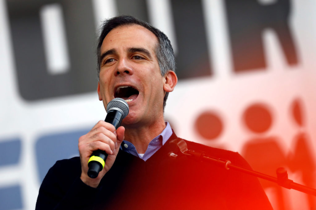 """Los Angeles mayor Eric Garcetti speaks during """"March for Our Lives"""", an organized demonstration to end gun violence, in do..."""