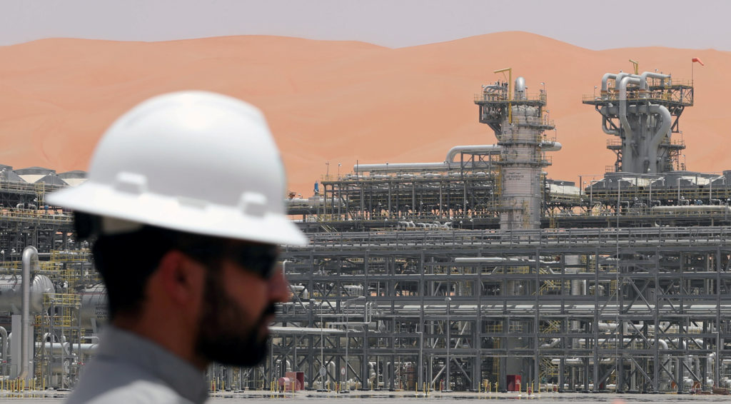 A Saudi Aramco employee is seen at the Natural Gas Liquids facility at Aramco's Shaybah oilfield. Saudi Aramco owns the largest oil refinery in the U.S. Photo by Ahmed Jadallah/Reuters