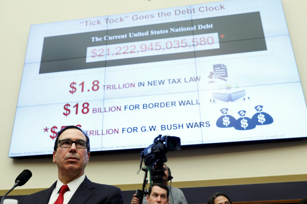 U.S. Secretary of the Treasury Steven Mnuchin testifies to the House Financial Services hearing on state of the international financial system on Capitol Hill in July. The Treasury department announced this week that the U.S. deficit increased $779 billion from last year. Photo by Joshua Roberts/Reuters
