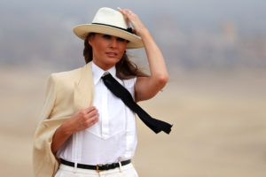 First lady Melania Trump tours the pyramids of Egypt in Cairo on Oct. 6. Photo by Carlo Allegri/Reuters