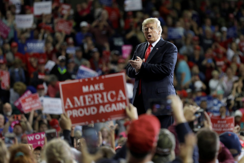 President Donald Trump hosts the Make America Great Again rally at Kansas Expocentre in Topeka