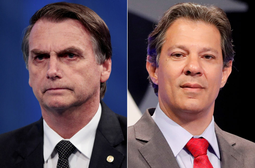 File photos of presidential candidate Jair Bolsonaro (L) and presidential candidate Fernando Haddad.  Photos by Paulo Whitaker and Nacho Doce/Reuters