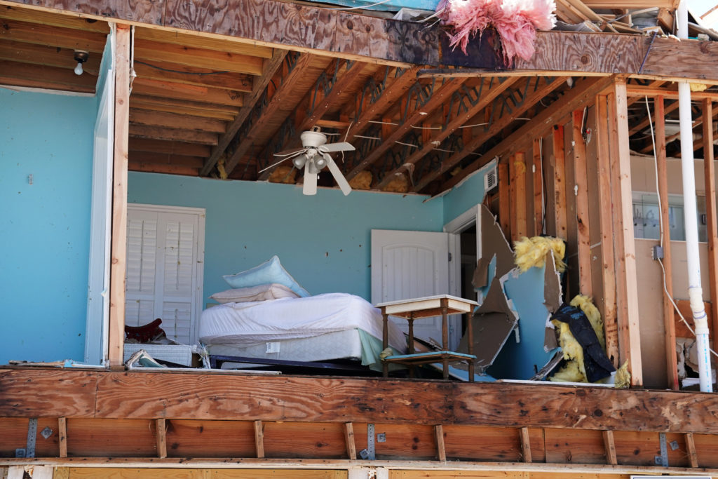 A bedroom of a destroyed house is pictured following Hurricane Michael in Mexico Beach, Florida. Photo by Carlo Allegri/Reuters