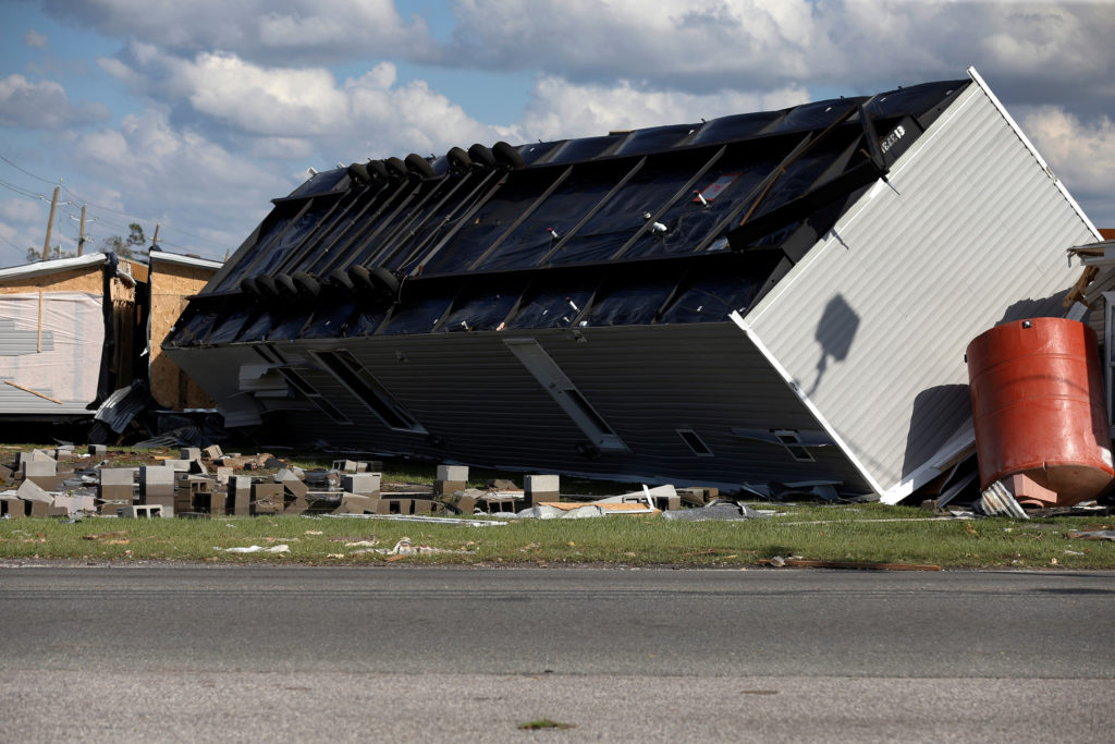An overturned trailer home damaged by Hurricane Michael is pictured in Springfield, Florida. Photo by Jonathan Bachman/Reuters