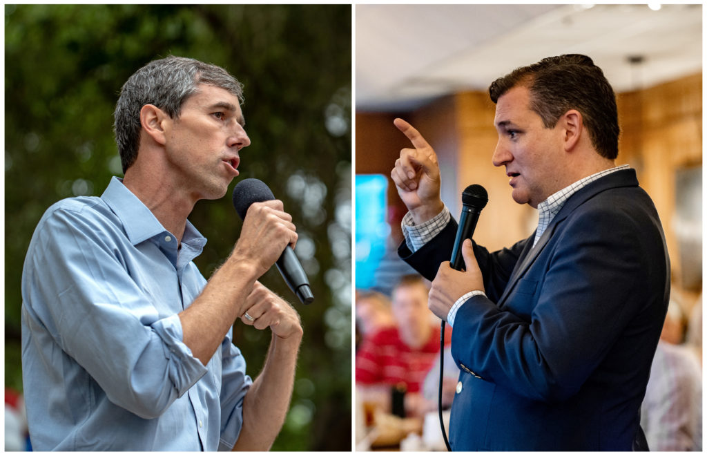 A combination photo shows Rep. Beto O'Rourke (L) and Sen. Ted Cruz (R) speaking to supporters in Del Rio, Texas, and in Columbus, Texas, respectively. Photo by Sergio Flores/Reuters