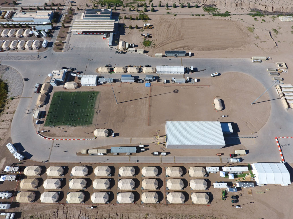 A tent city set up to hold immigrant children separated from their parents or who crossed the U.S. border on their own is seen in Tornillo, Texas, U.S., in this U.S. Department of Health and Human Services (HHS) image released on Oct. 12, 2018. Photo courtesy HHS/Handout via Reuters