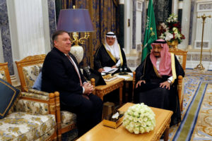 Saudi Arabia's King Salman bin Abdulaziz Al Saud meets with U.S. Secretary of State Mike Pompeo in Riyadh, Saudi Arabia. Photo by Leah Millis/Reuters