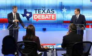 Rep. Beto O'Rourke (L), faces U.S. Senator Ted Cruz, in debate at the KENS-5 Studios in San Antonio, Texas. Photo by Tom Reel/San Antonio Express-News via Reuters
