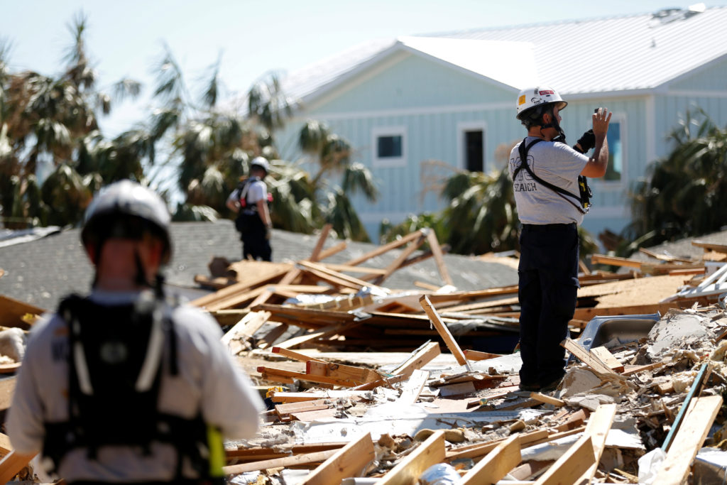A search and rescue team works in homes destroyed by Hurricane Michael in Mexico Beach, Florida. Photo by Terray Sylvester...