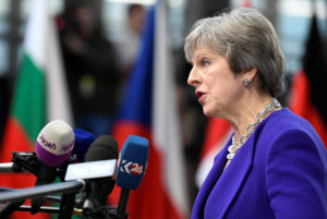 Britain's Prime Minister Theresa May speaks to the media as she arrives at the European Union leaders summit in Brussels, Belgium. Photo by Piroschka van de Wouw/Reuters