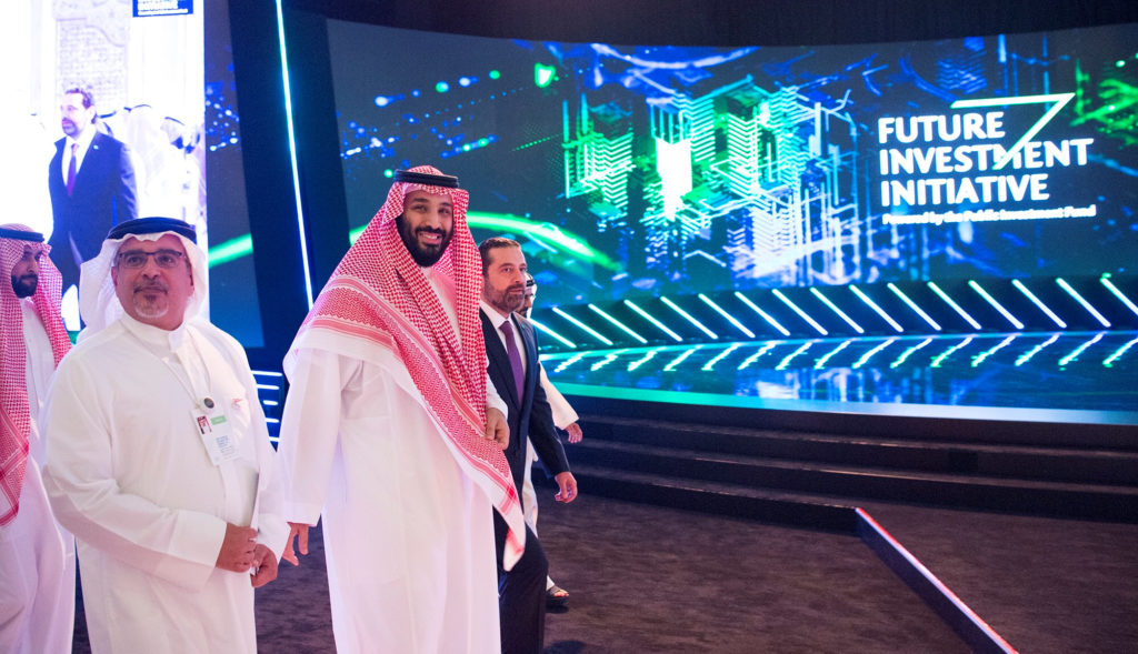 Saudi Crown Prince Mohammed bin Salman attends the Future Investment Initiative Forum in Riyadh. Saudi Arabia is trying to open itself to more foreign investments as part of a long-term plan to overhaul the nation's economy. Photo by Bandar Algaloud/Courtesy of Saudi Royal Court via Reuters