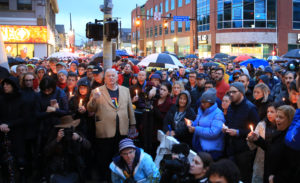 People hold a vigil for the victims of Pittsburgh synagogue shooting in Pittsburgh Pennsylvania