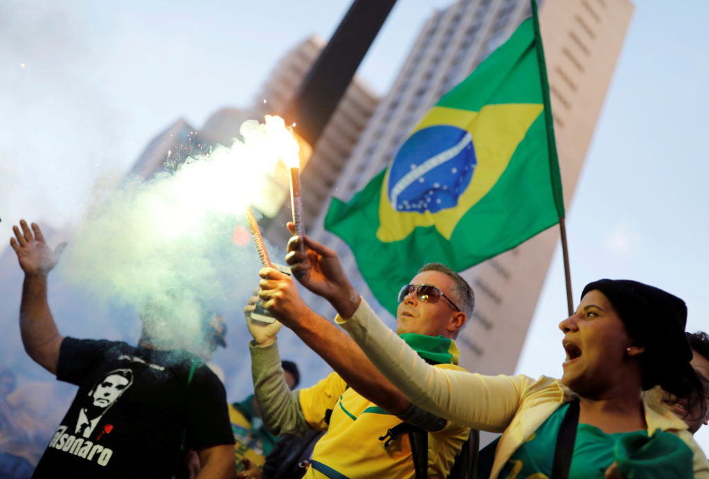 Supporters rally for Jair Bolsonaro in Sao Paulo, Brazil. Photo by Nacho Doce/Reuters