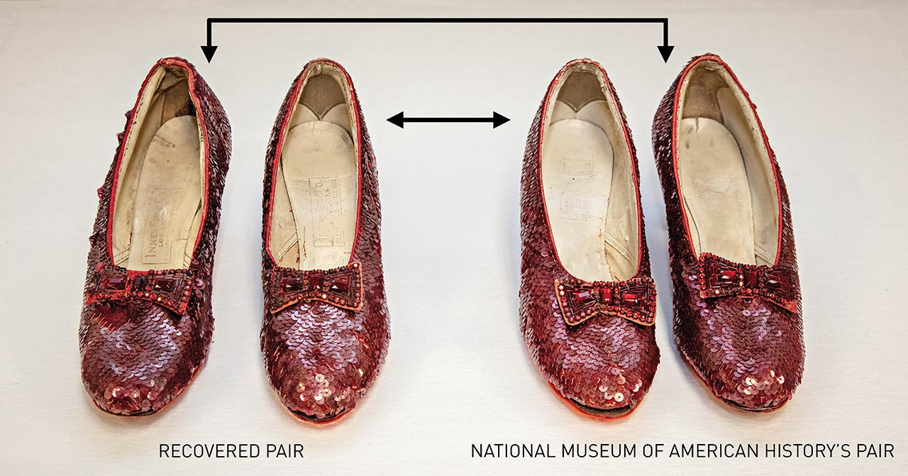 The Smithsonian's ruby slippers are mismatched pair. Two matching pairs of shoes can be created by swapping the left Smithsonian slipper with the left slipper of the FBI's pair and vice versa. Photo courtesy: Smithsonian Institution