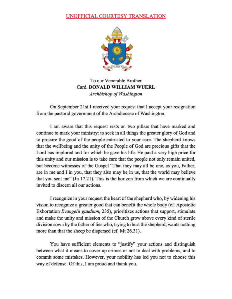 read pope francis u2019 letter defending cardinal wuerl u2019s