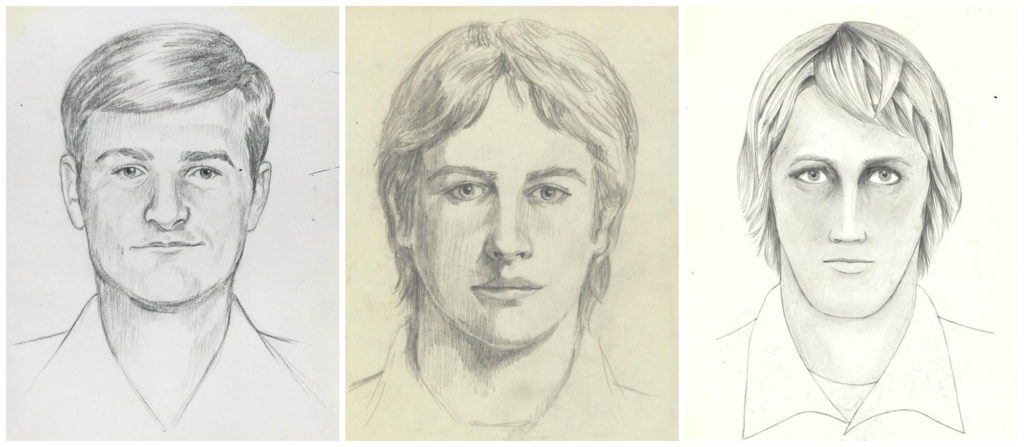 A combination image shows FBI sketches of an unknown individual known as the East Area Rapist/Golden State Killer describe...