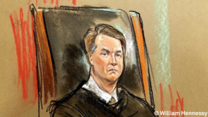 Supreme Court justice Brett Kavanaugh appears during his first day on the bench, Oct. 9, 2018. Sketch courtesy of Bill Hennessy.