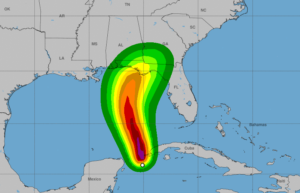 This image from the National Hurricane Center shows hurricane force wind speed probabilities for Hurricane Michael, which is expected to reach the Northeastern Gulf Coast on Wednesday. Photo by National Hurricane Center