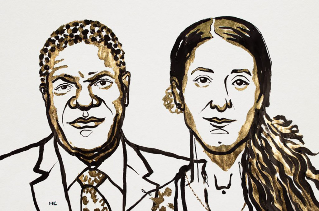 Denis Mukwege and Nadia Murad won the 2018 Nobel Peace Prize. Illustration by Niklas Elmehed/Nobel Media