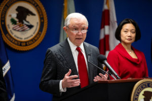 U.S. Attorney General Jeff Sessions speaks during a news conference to announce efforts to reduce transnational crime, at the U.S. District Attorney's office, in Washington, U.S., October 15, 2018. REUTERS/Al Drago
