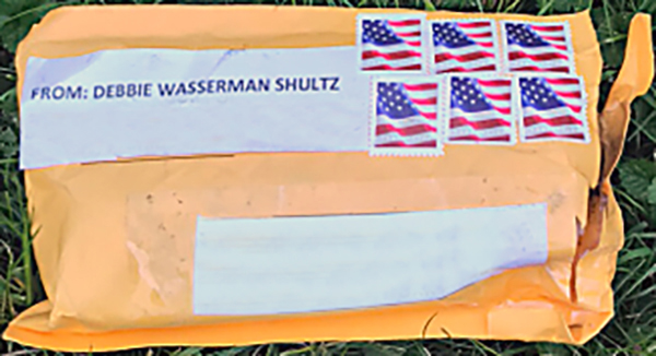 FBI officials released a photo of one of the suspicious packages. Addresses in the photo have been removed to protect privacy, FBI said.