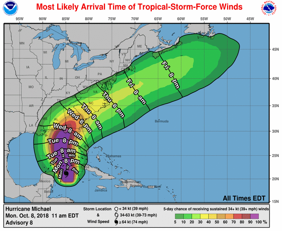 This image from the National Hurricane Center shows expected arrival time of tropical force winds.