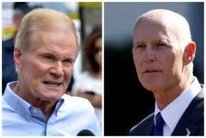 U.S. Senator Bill Nelson speaks in Orlando, Florida, U.S., June 12, 2016 and Florida Governor Rick Scott appears in Washington, DC, U.S., September 29, 2017 respectively. Photos by Kevin Kolczynski/Joshua Roberts/REUTERS