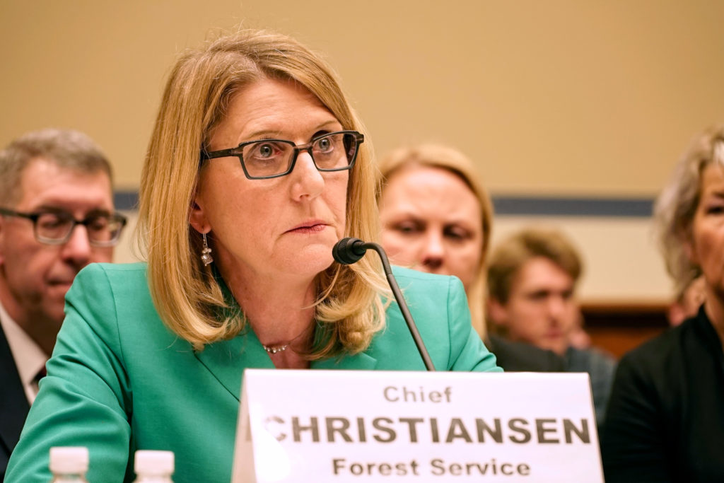 U.S. Forest Service chief Vicki Christiansen testifies before a House committee, regarding misconduct and retaliation within the agency. Photo by William Brangham/PBS NewsHour