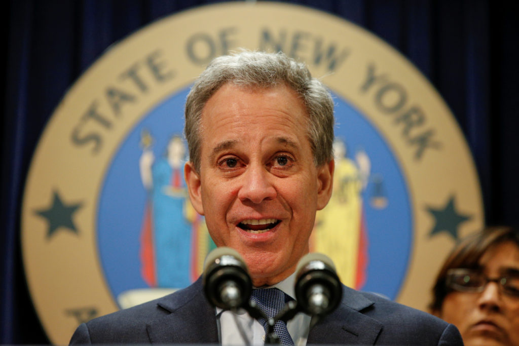 New York Attorney General Eric Schneiderman speaks during a news conference to discuss the civil rights lawsuit filed against The Weinstein Companies and Harvey Weinstein in New York, U.S., February 12, 2018. Photo by REUTERS/Brendan McDermid