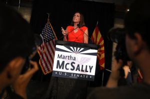 Senate candidate Rep. Martha McSally (R-Ariz.) speaks during her primary election night gathering at Culinary Drop Out at The Yard in Tempe, Arizona. Photo by Justin Sullivan/Getty Images