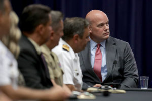 Department of Justice Chief of Staff Matt Whitaker (R) participates in an August round table event with the Joint Interagency Task Force in Washington, D.C. Photo by Chip Somodevilla/Getty Images