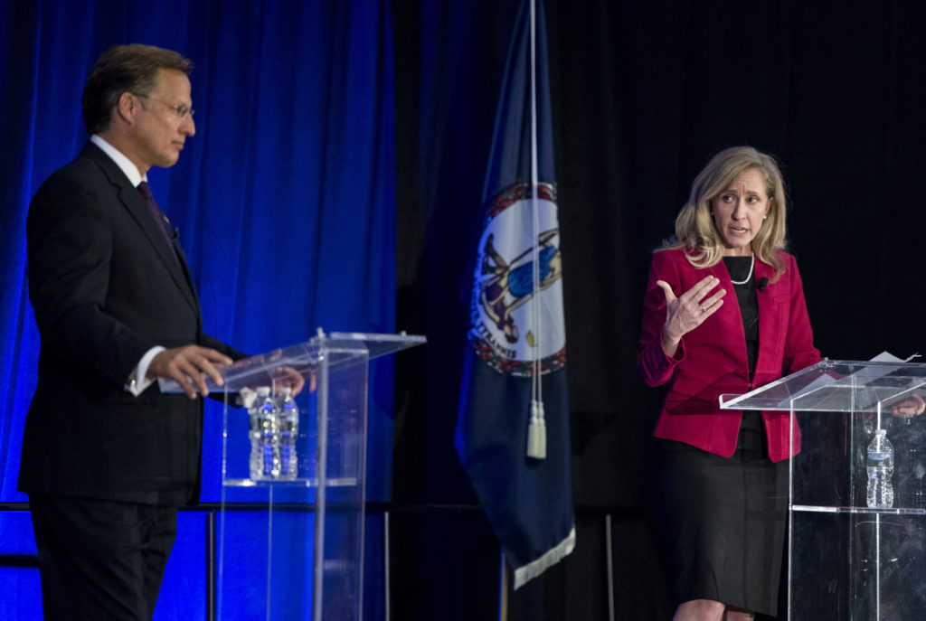 UNITED STATES - OCTOBER 15: Rep. Dave Brat, R-Va., and his Democratic challenger Abigail Spanberger participate in the Virginia 7th Congressional district debate at the Germanna Community College in Culpeper, Va., on Monday, Oct. 15, 2018. (Photo By Bill Clark/CQ Roll Call)