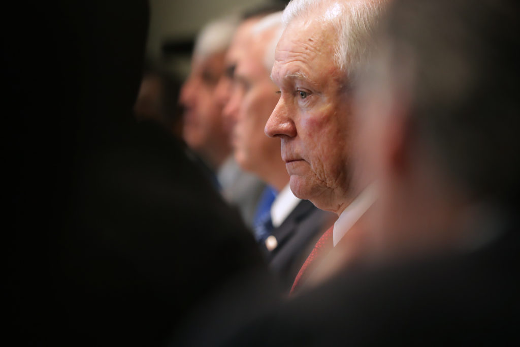WASHINGTON, DC - OCTOBER 17: (AFP OUT) U.S. Attorney General Jeff Sessions attends a Trump Administration cabinet meeting ...