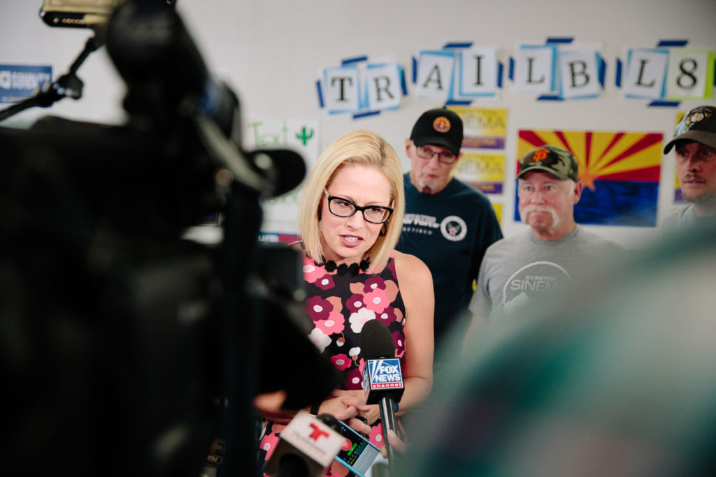 Krysten Sinema, Democratic Senate candidate from Arizona, speaks to members of the media during a campaign event in Phoenix, Arizona. Photo by Caitlin O'Hara/Bloomberg via Getty Images