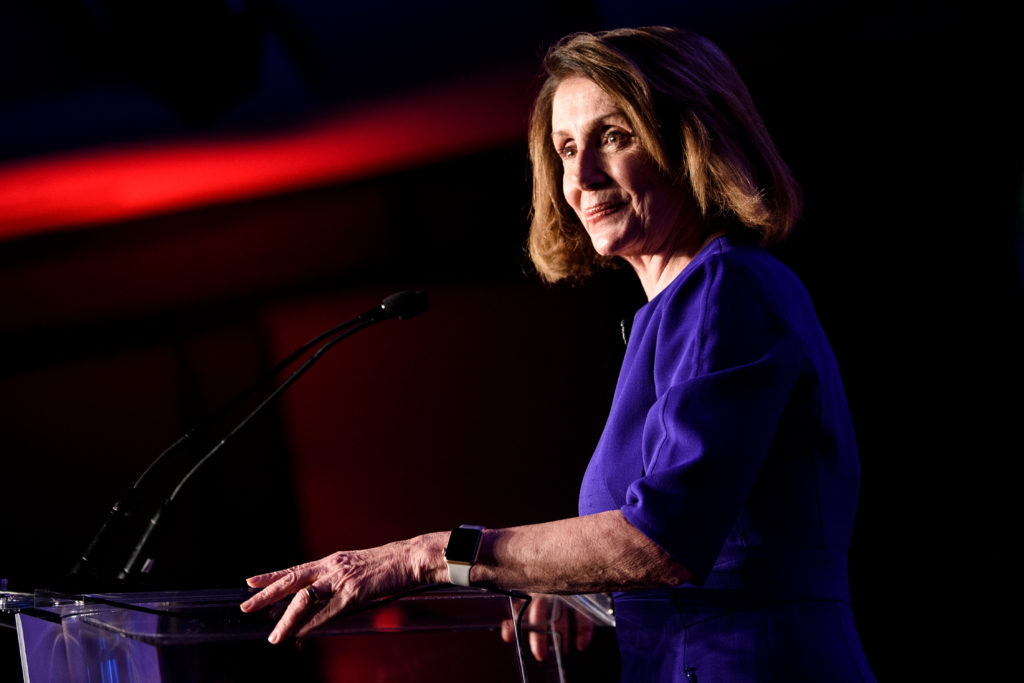 House Minority Leader Nancy Pelosi (D-CA) pauses while speaking during a midterm election night party hosted by the Democratic Congressional Campaign Committee November 6, 2018 in Washington, DC. (Photo by Brendan Smialowski / AFP) (Photo credit should read BRENDAN SMIALOWSKI/AFP/Getty Images)